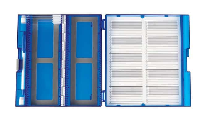 Fisherbrand Premium Plus Slide Box, 100 place Blue:Racks, Boxes, Labeling