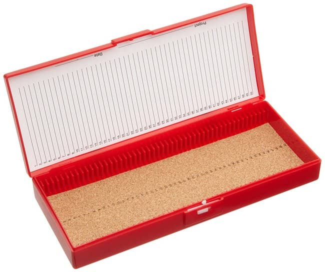 Fisherbrand™Colored ABS 50 Place Slide Boxes Lining: Cork; Color: Red; Material: ABS Fisherbrand™Colored ABS 50 Place Slide Boxes