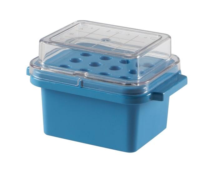 Heathrow ScientificTrue North™ Mini-Kühler Farbe: Blau; Wells: 12; Deckel: Durchsichtig Heathrow ScientificTrue North™ Mini-Kühler