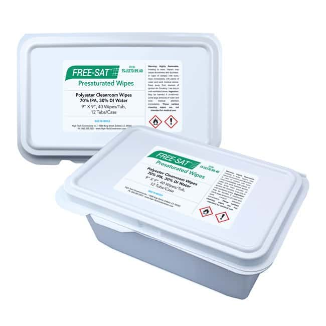 High-Tech ConversionsFree-Sat Ultimate 70, 70% IPA Saturated, Sealed-Edge Polyester Cleanroom Wipes