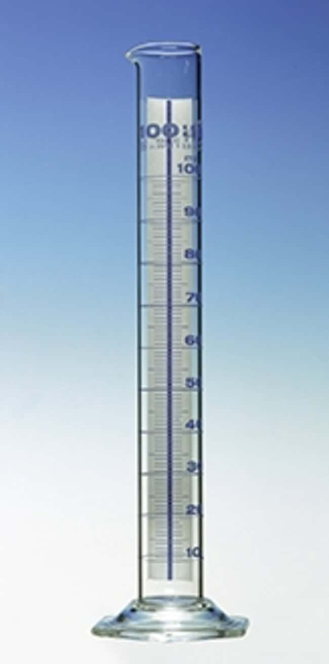 Hirschmann™Class A Measuring Cylinders, Schellbach Graduation Capacity: 25mL; Height: 170mm; Blue Graduations; Schellbach Stripes Hirschmann™Class A Measuring Cylinders, Schellbach Graduation