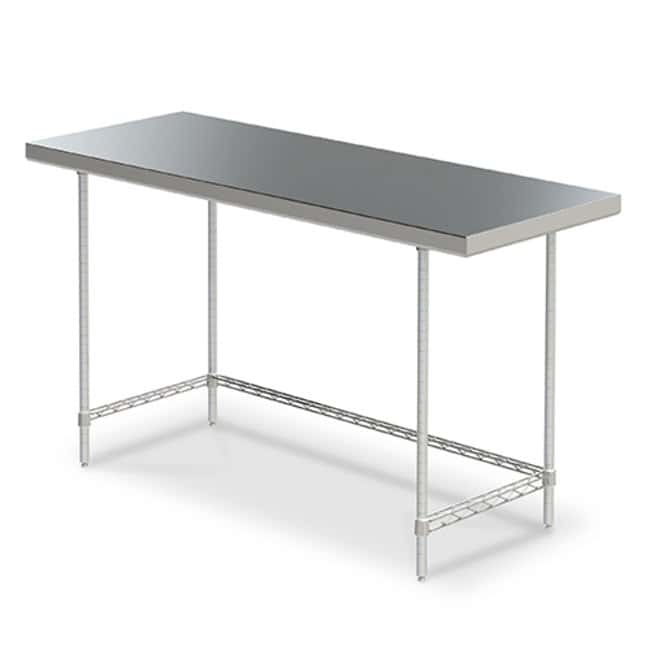 Metro™ Stationary Space Saver Worktables with 3-Sided Frame With 3-sided frame; 24 x 48 in. Metro™ Stationary Space Saver Worktables with 3-Sided Frame