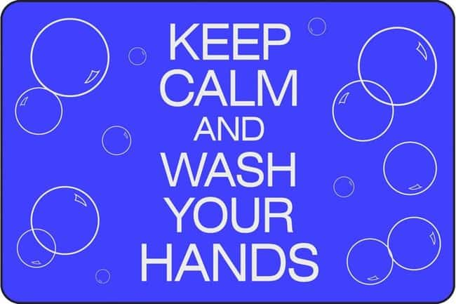 Notrax 194CW Keep Calm and Wash Hands Mat 6 x 4 ft. (183 x 122 cm):Gloves,