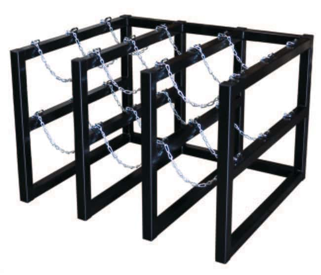 Justrite Gas Cylinder Barricade Rack 9 Cylinder Capacity, 3 Wide by 3 Deep:Gloves,
