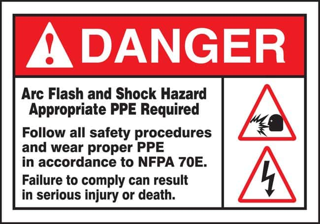AccuformSafety Label, DANGER ARC FLASH AND SHOCK HAZARD Safety Label, WARNING