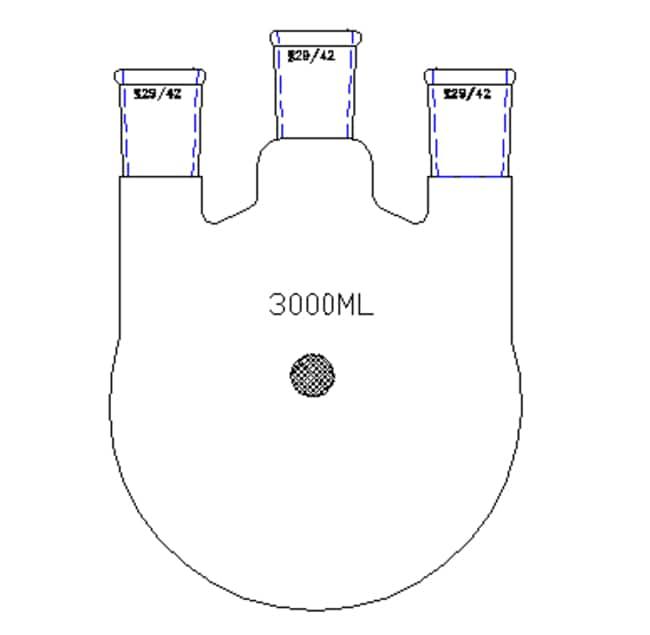 SynthwareThree-Neck Flasks, Vertical Std taper joint: Center: 29/42; Side: