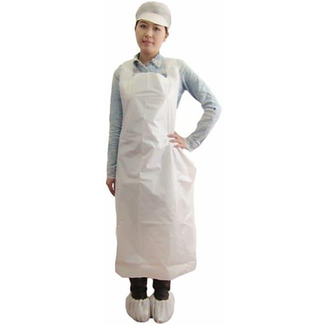 Keystone Polyethylene Apron Size: 28 x 46 in. (71 x 117cm); Color: White;