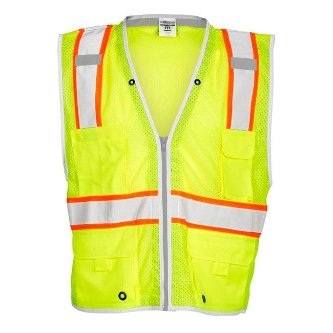 Kishigo Premium Brilliant Series Heavy Duty Vest Large; Lime:Gloves, Glasses