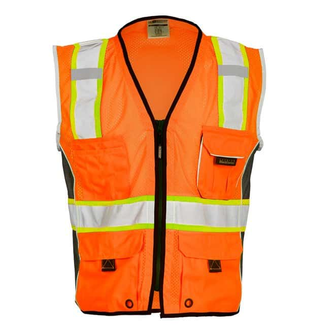 Kishigo Premium Black Series Heavy Duty Vest Size: 4X; Color: Orange; Chest