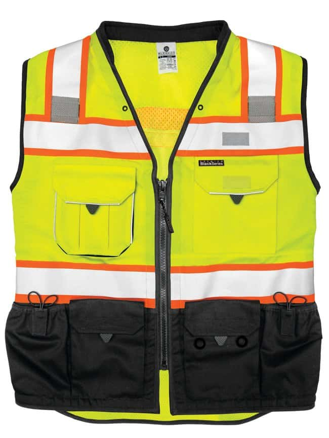 ML Kishigo Premium Black Series Surveyors Vest Lime, M:Gloves, Glasses