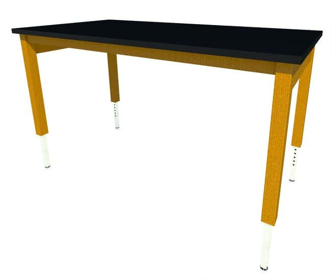 Fisherbrand Wood Adjustable Height Table, 60 in. Wide, Black Epoxy Work