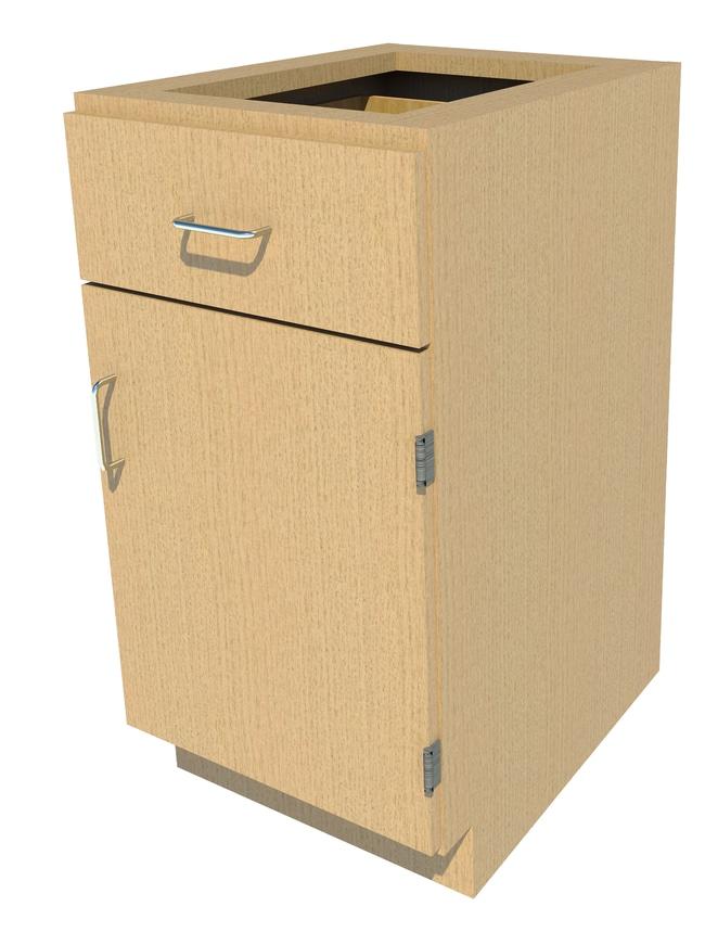 Fisherbrand Standing Height Wood Cabinet, 18 in. Wide 1 Door 1 Drawer,