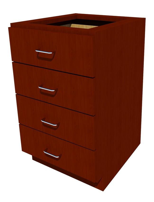 FisherbrandStanding Height Wood Cabinet, 21 in. Wide 4 Drawer, 21 in. Wide,