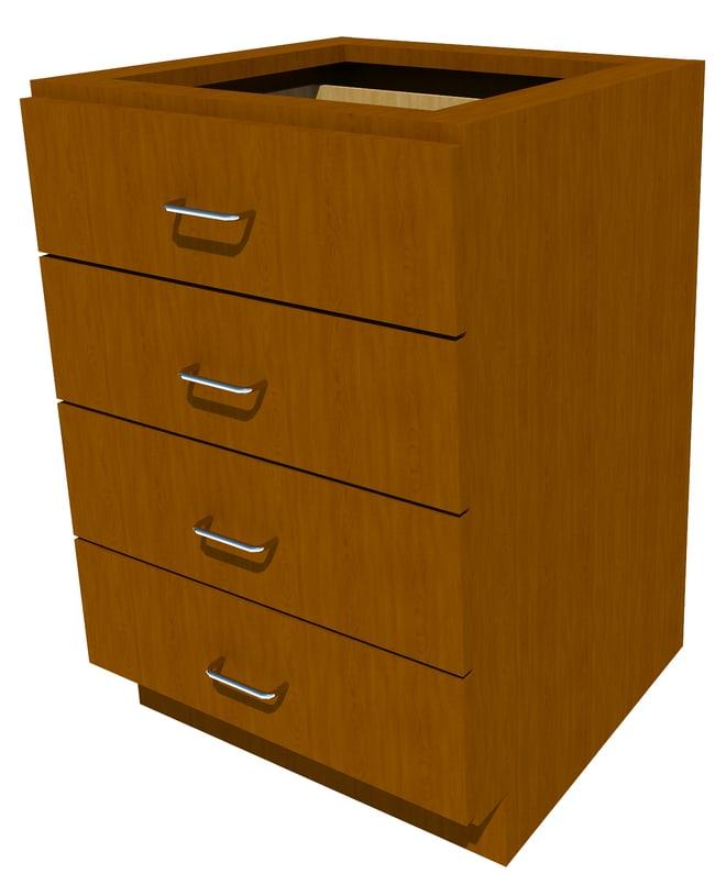 FisherbrandStanding Height Wood Cabinet, 24 in. Wide 4 Drawer, 24 in. Wide,