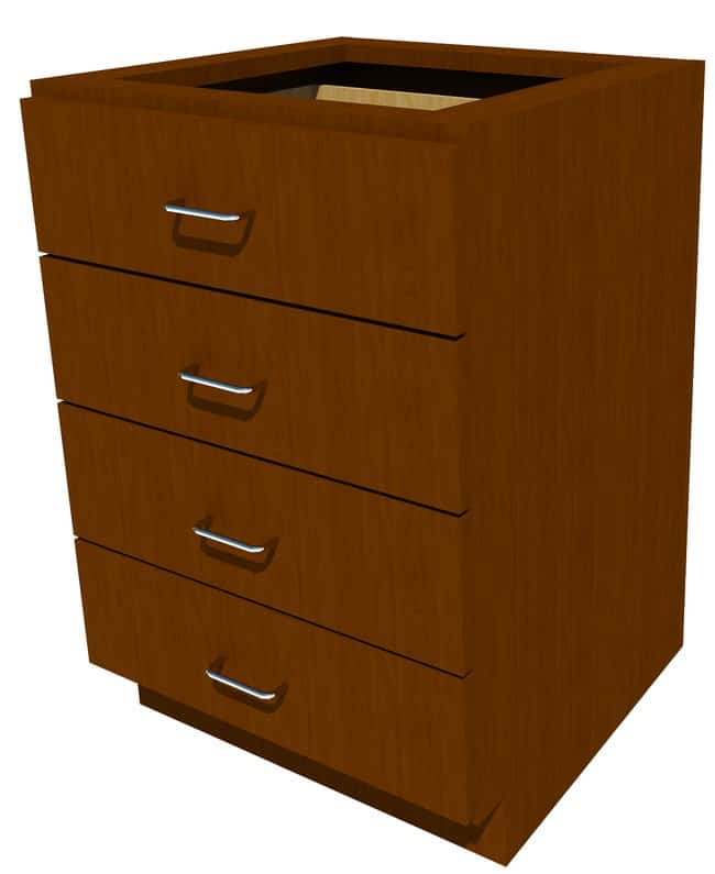 Fisherbrand Standing Height Wood Cabinet, 24 in. Wide 4 Drawer, 24 in.