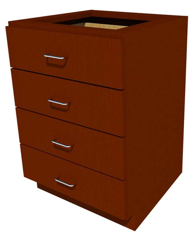 FisherbrandStanding Height Wood Cabinet, 24 in. Wide 4 Drawer, 24 in. Wide,
