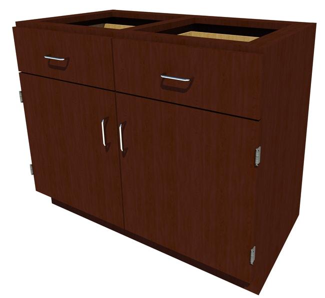 Fisherbrand Standing Height Wood Cabinet, 42 in. Wide 2 Door 2 Drawer,