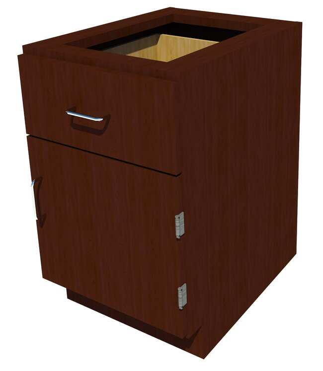 FisherbrandSitting Height Wood Cabinet 1 Door 1  Drawer, 18 in. Wide, Maple,