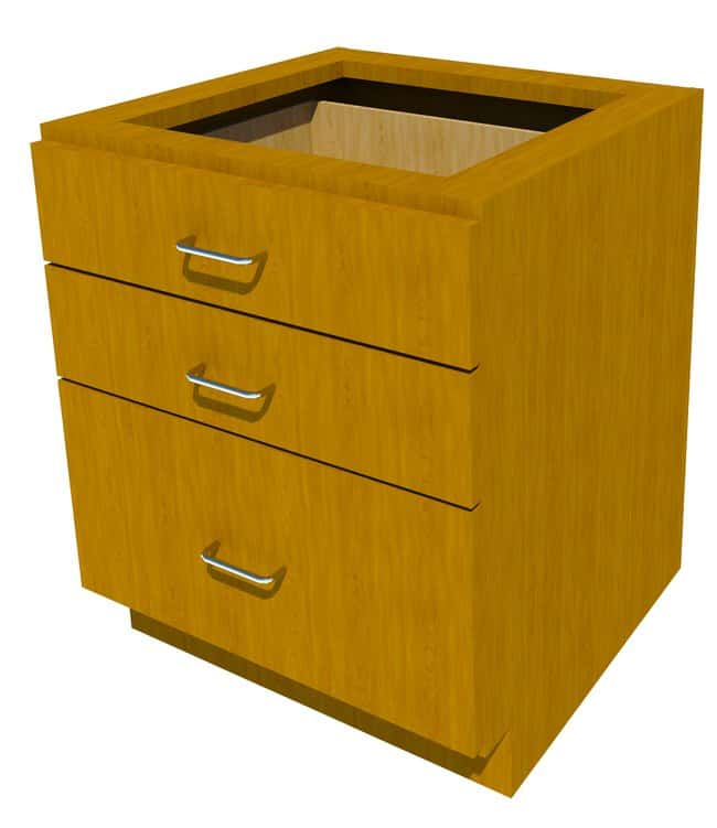 Fisherbrand Sitting Height Wood Cabinet 3 Drawer, 24 in. Wide, Maple, Honey