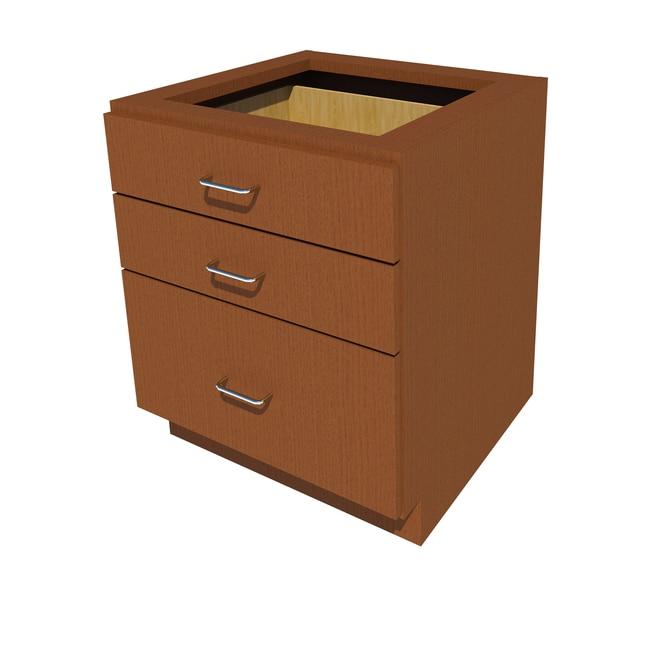 FisherbrandSitting Height Wood Cabinet 3 Drawer, 24 in. Wide, Oak, Amber