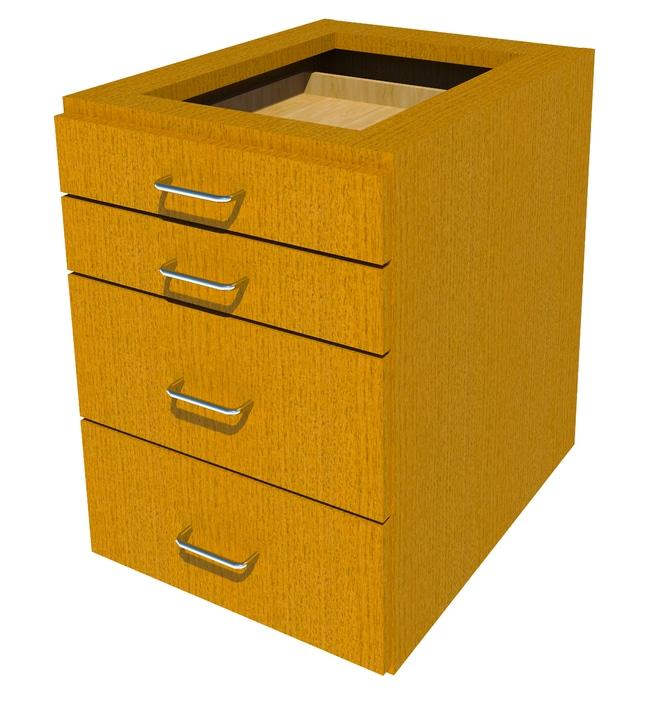 FisherbrandSuspended Wood Cabinet, 18 in. Wide 4 Drawer, 18 in. Wide, Oak,