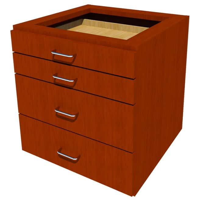FisherbrandSuspended Wood Cabinet, 24 in. Wide 4 Drawer, 24 in. Wide, Maple,
