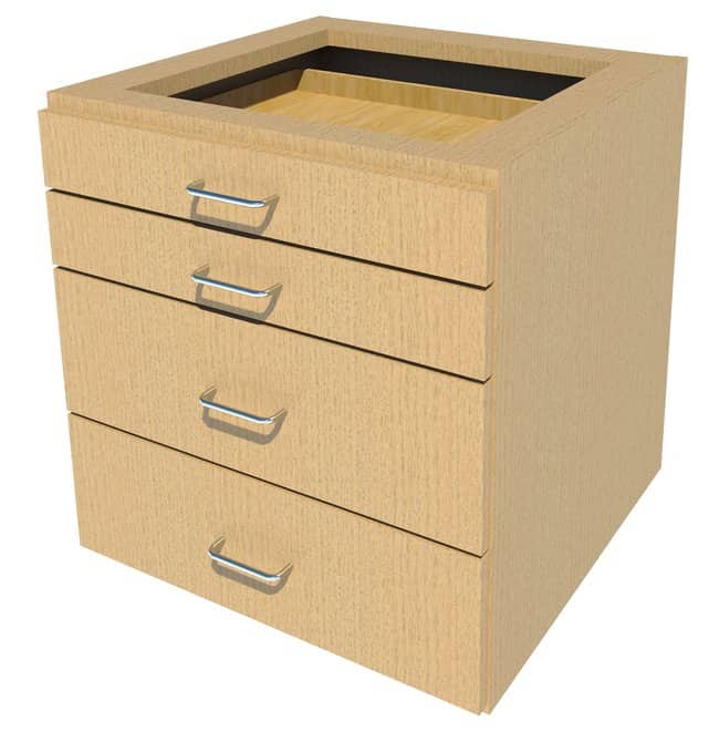 FisherbrandSuspended Wood Cabinet, 24 in. Wide 4 Drawer, 24 in. Wide, Oak,