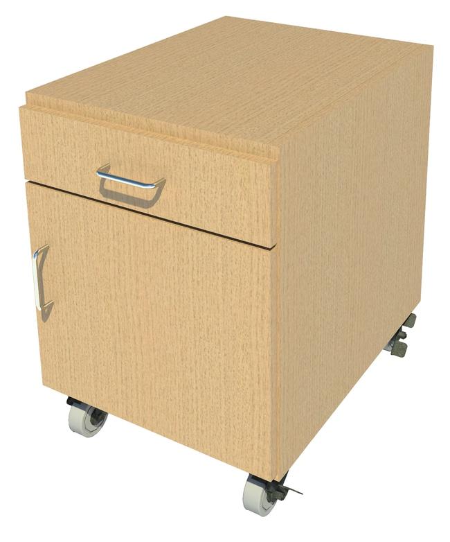 Fisherbrand Mobile Wood Cabinet, 18 in. Wide 1 Door 1 Drawer, 18 in. Wide,