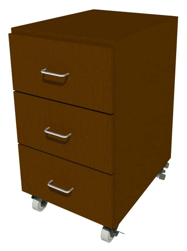 FisherbrandMobile Wood Cabinet, 18 in. Wide 3 Drawer, 18 in. Wide, Oak,
