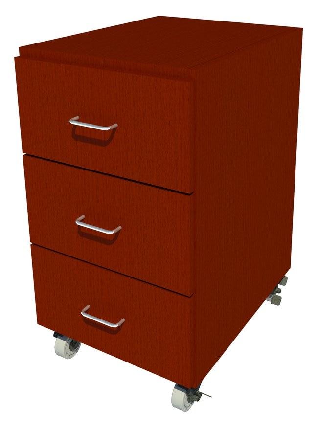 FisherbrandMobile Wood Cabinet, 18 in. Wide 3 Drawer, 18 in. Wide, Oak,
