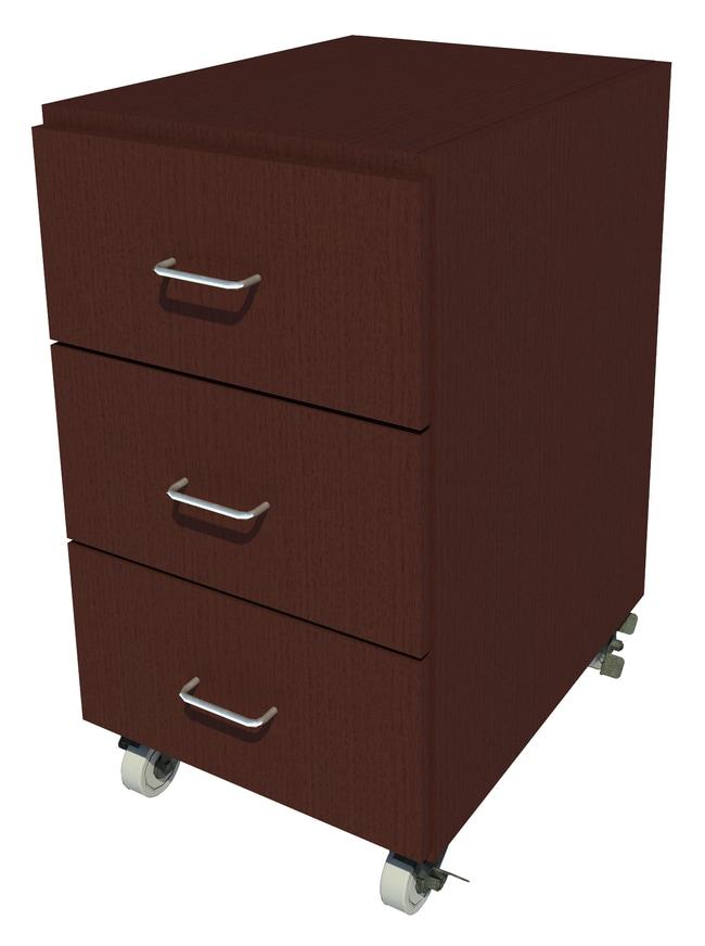 Fisherbrand Mobile Wood Cabinet, 18 in. Wide 3 Drawer, 18 in. Wide, Oak,