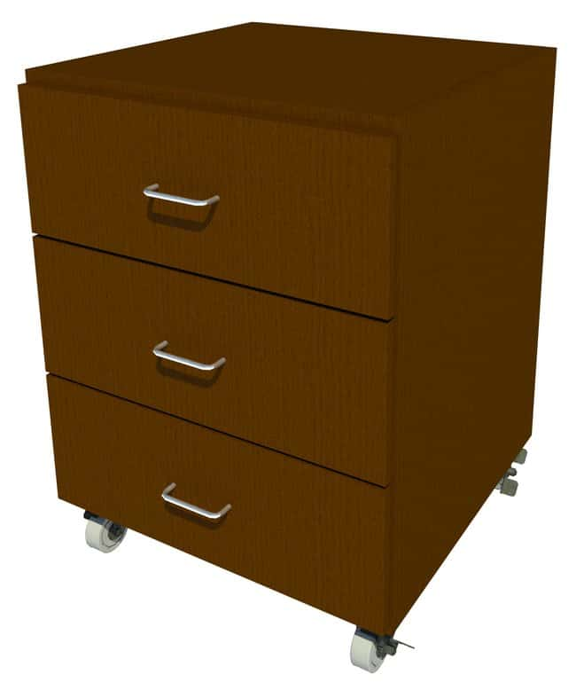 Fisherbrand Mobile Wood Cabinet, 24 in. Wide 3 Drawer, 24 in. Wide, Oak,