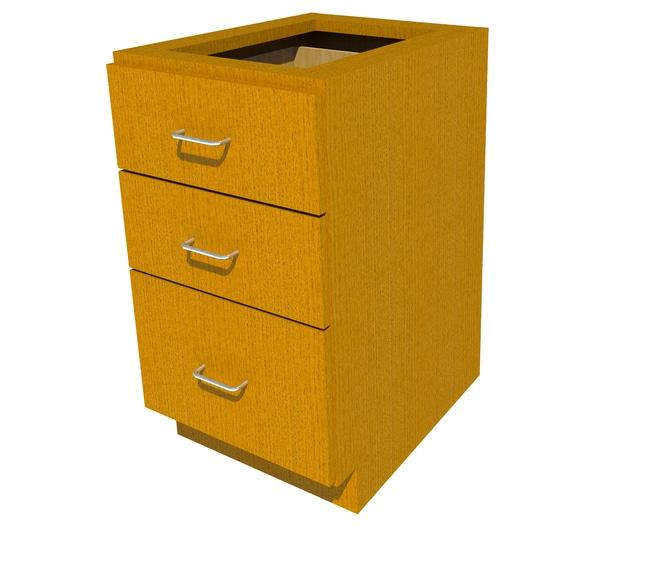 Fisherbrand ADA Height Wood Cabinet 3 Drawer, 18 in. Wide, Oak, Honey Stain:Furniture,