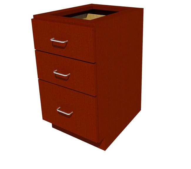 FisherbrandADA Height Wood Cabinet 3 Drawer, 18 in. Wide, Oak, Chili Stain:Furniture