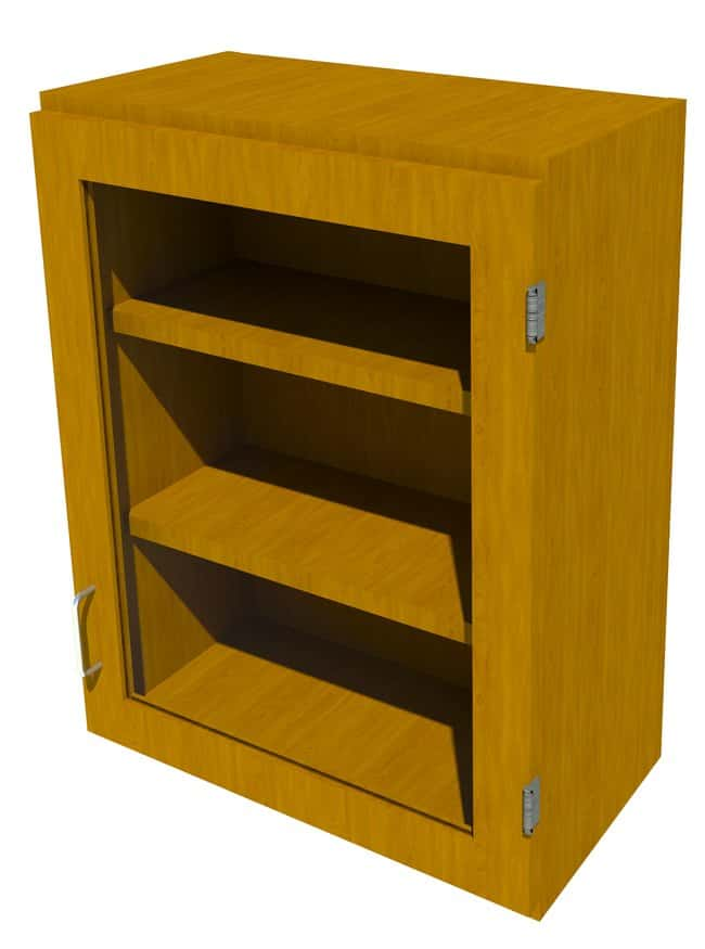 Fisherbrand Wood Wall Cabinet, 24 in. Wide 1 Framed Glass Door Right Hinged,