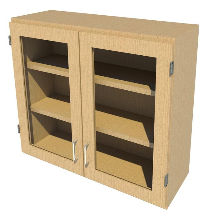 FisherbrandWood Wall Cabinet, 36 in. Wide 2 Framed Glass Doors, 36 in.