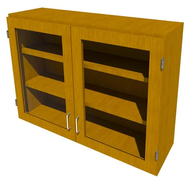 Fisherbrand Wood Wall Cabinet, 42 in. Wide 2 Framed Glass Doors, 42 in.