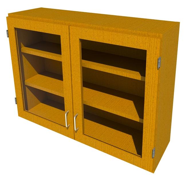 FisherbrandWood Wall Cabinet, 42 in. Wide 2 Framed Glass Doors, 42 in.