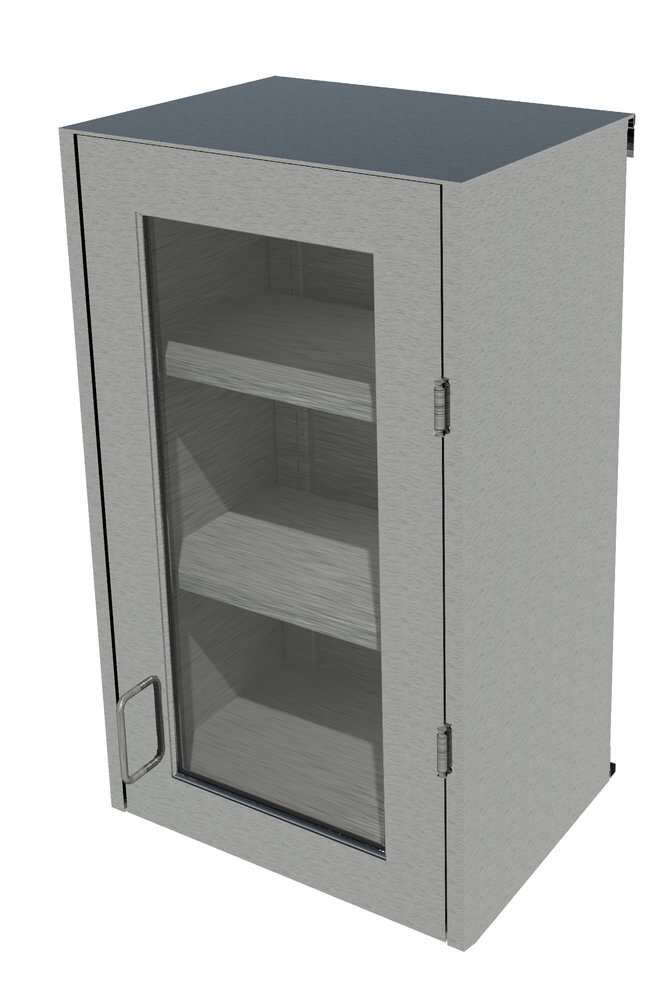 Fisherbrand Stainless Steel Wall Cabinet, Right Hinged Framed Glass Door,