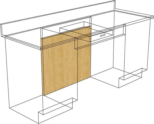 Fisherbrand Standing Height Wood Knee Space Panels for use with Drawer