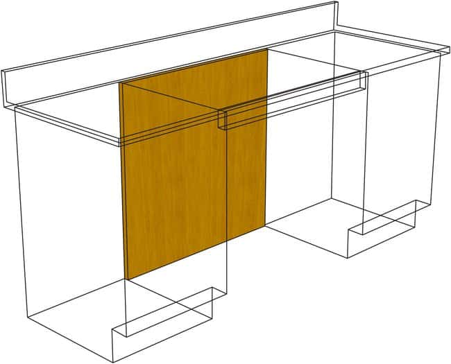 Fisherbrand Standing Height Wood Knee Space Panels for use with Apron Rails,