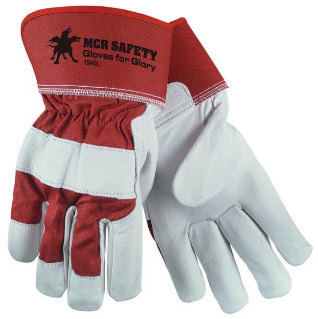 MCR Safety Leather Palm Work Gloves Goat skin; Large; Size 6:Gloves, Glasses