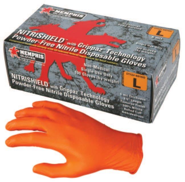 MCR Safety NitriShield with Grippaz Technology, Orange Nitrile Disposable