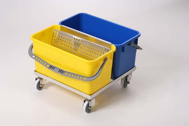 Micronova™ Slim-T™ Stainless Steel Cart Systems SlimT Double Bucket Cart, Electropolished Stainless Steel w blue, yellow buckets Micronova™ Slim-T™ Stainless Steel Cart Systems