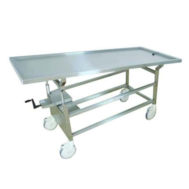 Mopec Hand Crank Tilting Autopsy Cart with Standard Stainless Steel Top