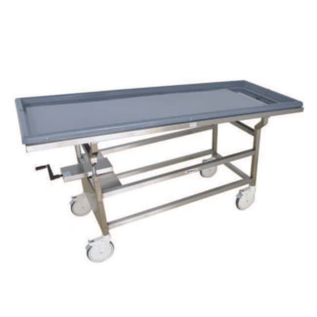 Mopec Hand Crank Tilting Autopsy Cart with Fiberglass Trough Top  HeightMetric: