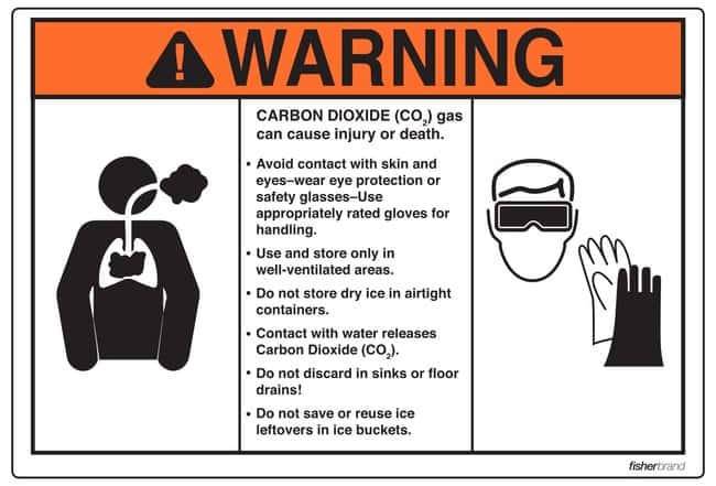 FisherbrandDry Ice Carbon Dioxide Warning Label Dry Ice Carbon Dioxide
