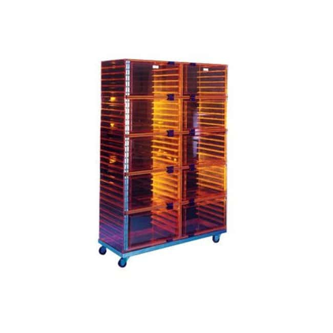 Plas Labs Amber Multiple Cubicle Desiccator with Perforated Shelves D x
