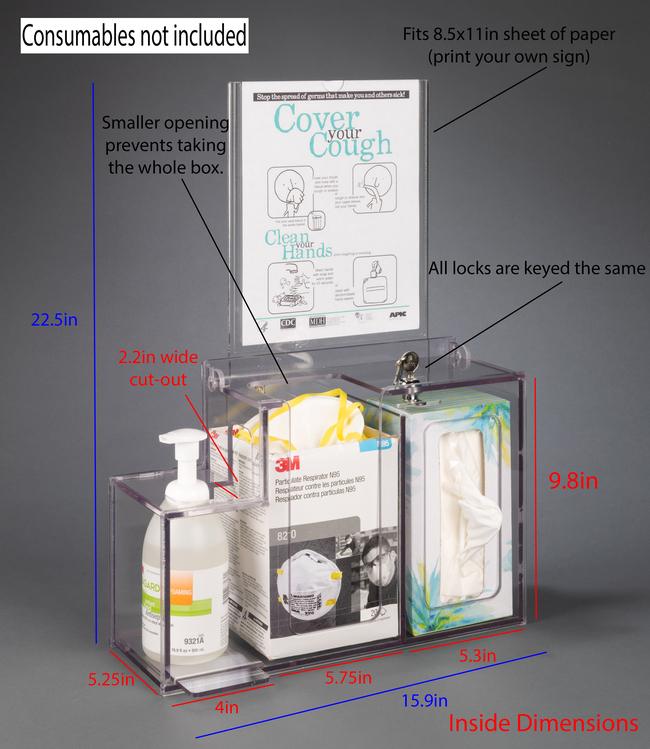 PoltexN95 Respiratory Hygiene Station-Locking:Furniture:Desks and Tables