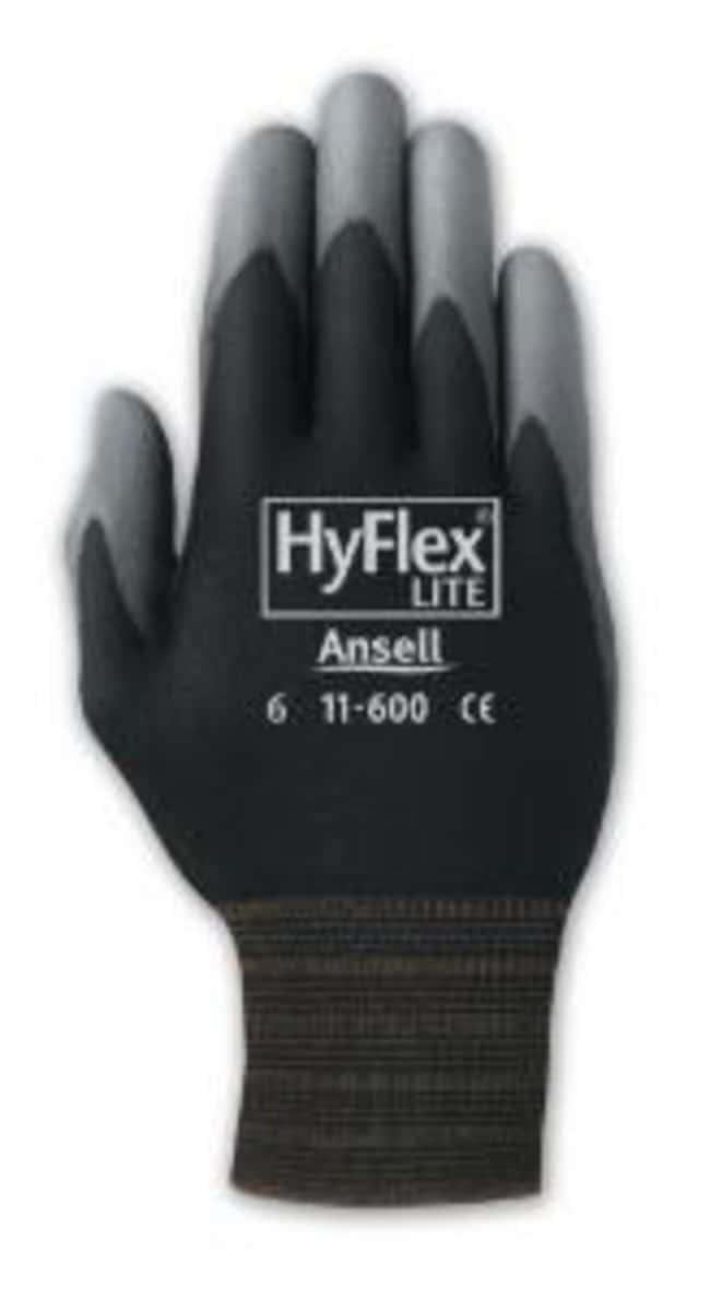 AnsellHyFlex™ 11-600B Black Nylon Gloves with Gray Polyurethane Coating